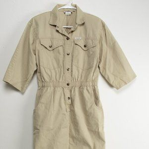 Vintage 80s Khaki Dress by Dreams- Safari Vibes